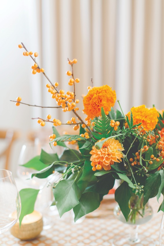 marigold flower arrangement on table