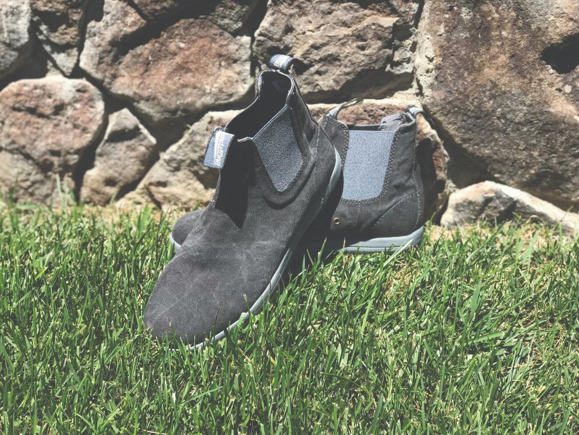 black canvas ankle boots