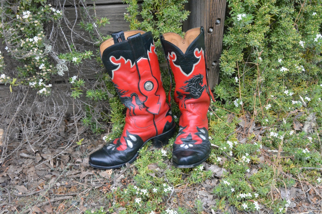 ornate red cowboy boots