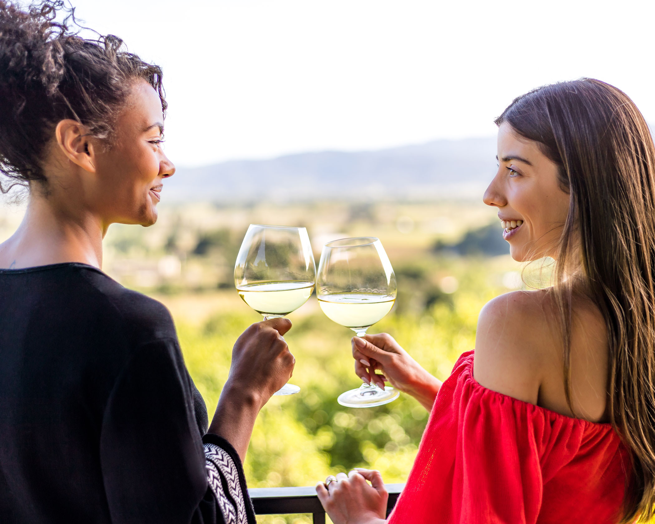 two women toast with white wine from a balcony overlooking Napa Valley