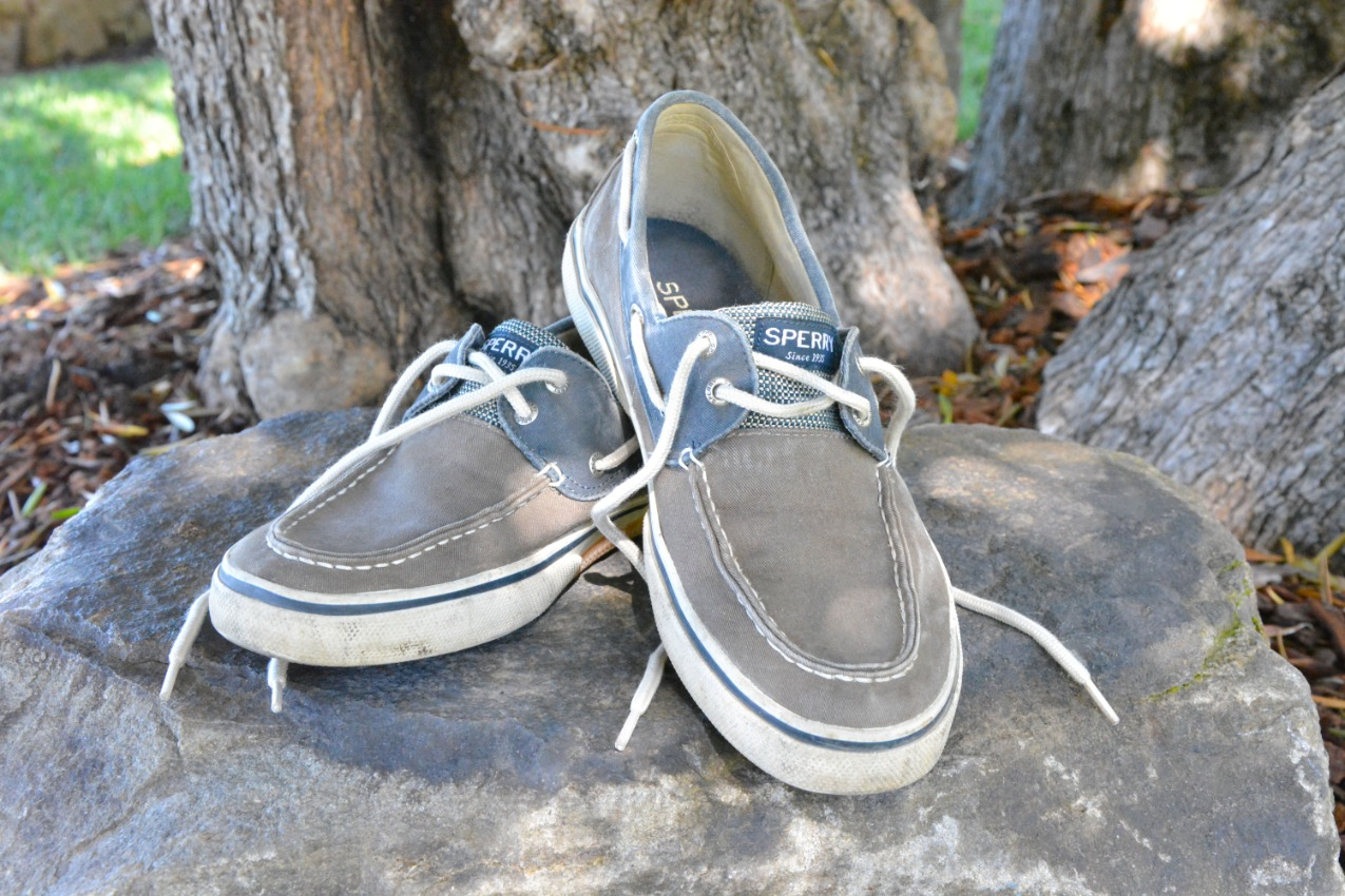 gray and blue canvas loafers
